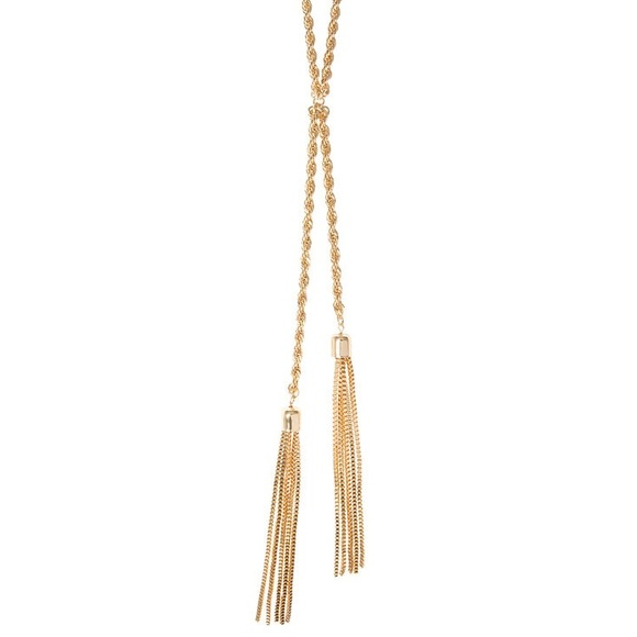 Jewelry - Gold rope chain and tassels lariat necklace